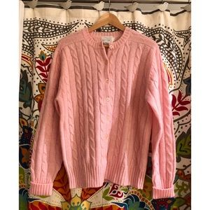 LORD & TAYLOR pink cable knit sweater cardigan top